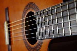 Acoustic Guitar Sound Hole and Strings