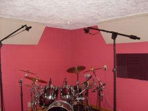 A pair of At 4050's used as overheads on our studio drums.