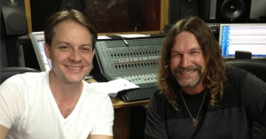 Songwriter Kerry McFate (left) and producer Bill Watson (right) take a break from mixing songs for Kerry's Clarence Lowden album.