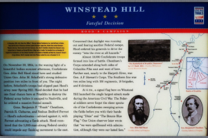 Plaque describing the Battle of Franklin. The lower right corner is where the quote below was pulled from.
