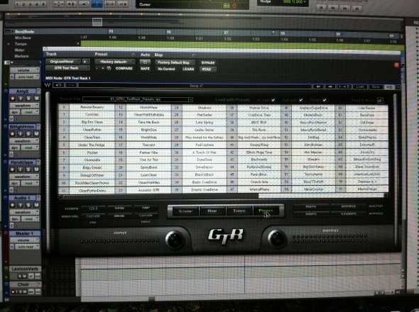Waves Guitar Tool Kit : Presets Window, Nashville Trax Studio
