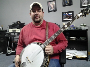 Aaron displaying the  very banjo Sonny Osbourne played on the recording of Rocky Top in 1967!