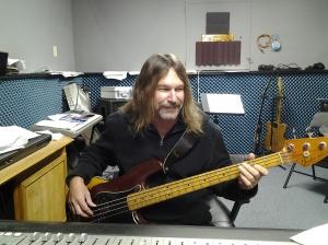 Bill Watson Engineering and playing bass guitar