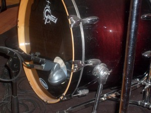 Shure PG52 micophone in a Gretsch bass drum