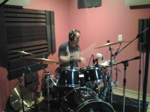 Jim Riley, drummer for Rascal Flatts, playing drums on a song for Wayne from Main's album