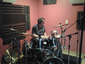Rascal Flatts drummer, Jim Riley, at Nashville Trax on the house kit.