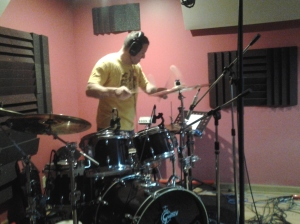 Rascal Flatts' drummer, Jim Riley, overdubs cymbal swells at Nashville Trax Recording Studio