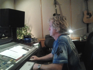 Engineer Shawn Conley tracking as Bill Watson (not pictured) produces Dan's Miles and Miles vocal session