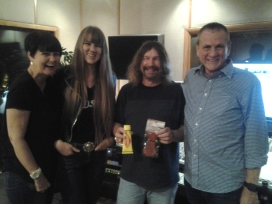 Singer/songwriter Issy Burnup, 2nd from left at Nashville Trax Recording Studio.