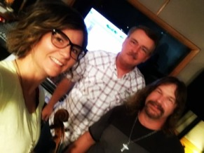 Blake Shelton's fiddle player Jenee Fleenor at yesterday's session with client Mike Anderson (rear) amd producer Bill Watson